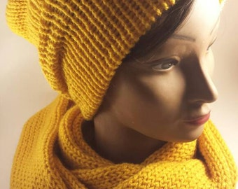 Reversible Hat and Scarf Set-Mustard