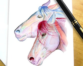 Horse stationary horse note cards horse lover gift horse easter gift for horse lover easter horse gift for girl horse stationery colorful negle Images