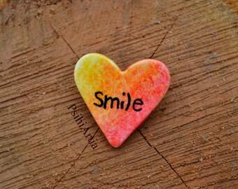 Heart shaped brooch Heart brooch Quote brooch Smile brooch Polymer clay brooch Handmade brooch Polymer clay heart