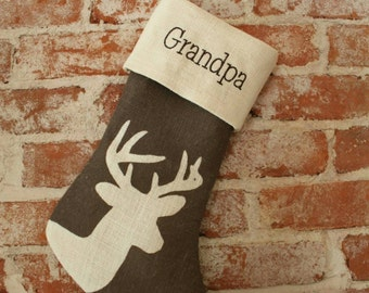 Deer Buck Doe Christmas Stocking painted burlap