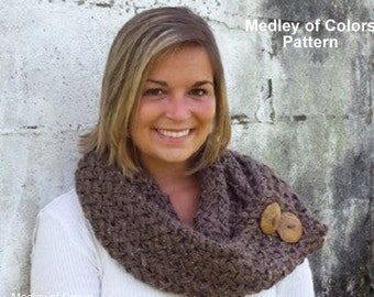 Button Infinity Scarf Pattern / Button Cowl Scarf Pattern / Knit Scarf Pattern
