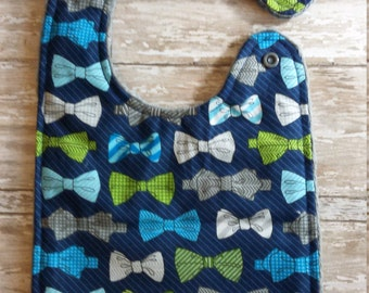 Baby Bib- Bow Tie Baby Bib with Minky Backing, Tie baby Bib, Baby Boy Bib, Minky Baby Bib, Boy Baby Bib, Girl Baby Bib, Personalized Bib