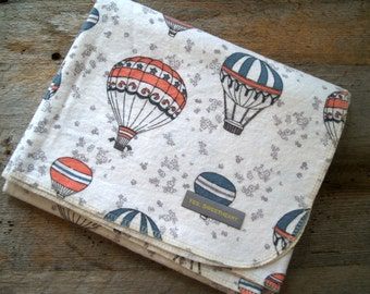 Extra Large Hot Air Balloon Flannel Receiving Blanket- Swaddle Blanket-Baby Shower Gift-Baby Blanket-Neutral- Coral and Blue-Nursery