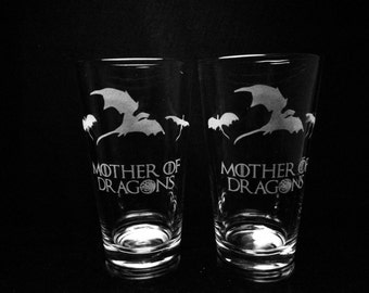 Game of Thrones Inspired- Mother of Dragons- Set of 2 Pint Glasses