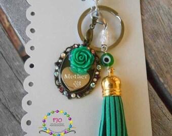 Mother Bag Charm Green Rose Bag Dangle Green Tassle Jeans Dangle Keychain Purse Charm Bohemian bagcharm Bag accessories