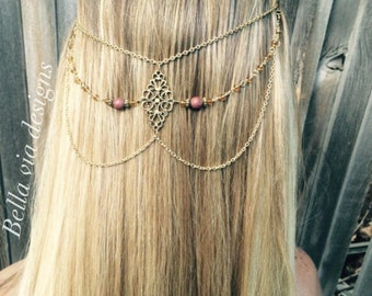 Cascading Hair Chain Jewelry, Brown Beaded Hair Chain, Antique Gold Hair Piece. Accessories For Hair, Head Chain Jewelry