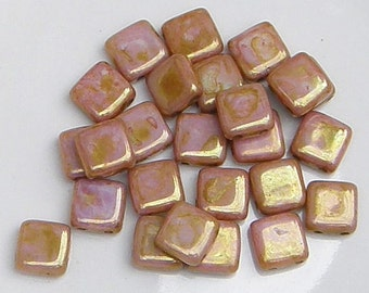 CzechMate Tile, Luster Opaque Rose Gold Topaz, 2 Hole Bead, (P65491), 25 count