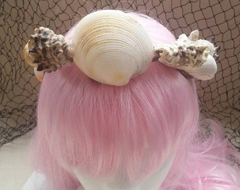 Rustic mermaid crown headpiece, handmade with real sea shells.