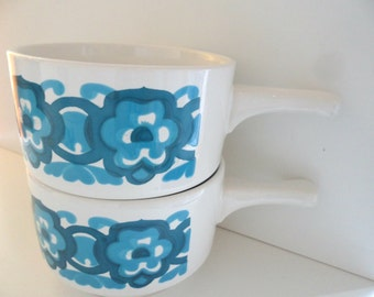 4 x 1960's/1970's staffordshire potteries xoup bowls/cup/coup/mugs fabulous blue turquoise geometric design