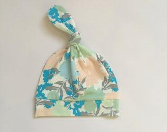 Topknot Newborn Hat - Gossamer Floral