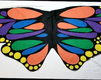 Monarch Butterfly Costume Wings King's Cake Mardi Gras Kids Age 1 to Adult