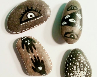 4 Hand Painted Stones Collection