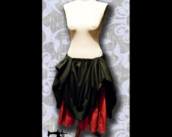 Gonna a due strati a ruota intera/ Victorian double layer skirt, vodoo, steampunk, burlesque, Tia Dalma, Pirates of the caribbean