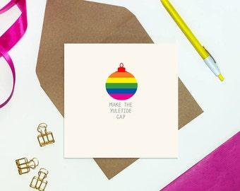 Gay Christmas Card - rainbow christmas card - lgbt cards - gay cards - lesbian cards