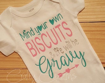 MYOB. Mind your own biscuits. southern baby tee.