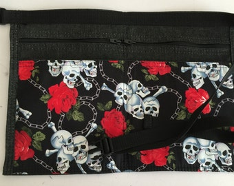 Black denim with skull and roses  market traders/car booters money bag