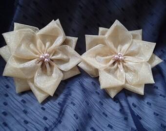 Handmade voile  ribbon flowers