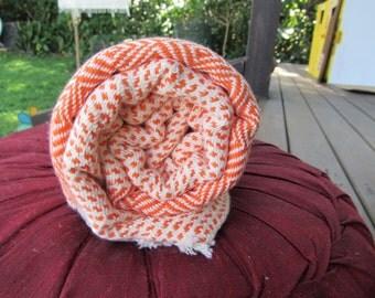 Pure Cotton Diamond Handwoven Turkish Towel Orange