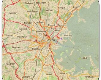 Boston 1 Vintage Map Coasters