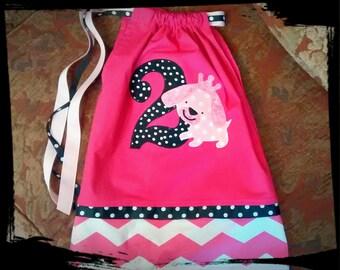 "PUPPY Birthday Dress - Pink and Black Polkadot ""Princess Puppy"" Birthday Party Pillowcase Dress, chevron 1st 2nd 3rd 4th 5th Birthday"