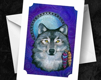 Wolf - 7x5 Folded Greetings Card