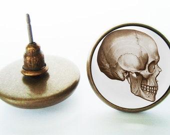 Skull Earrings (Silver or Bronze)