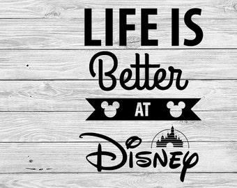 Life Is Better At Disney Iron On Transfer Digital Printable t-shirt Vacation shirt couple matching shirts Disneyland Disneyworld Mickey
