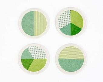 Letterpress Geometry Circle Coasters – Set of 4