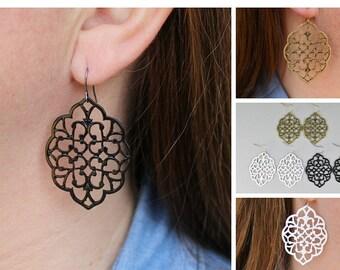 """teardrop earrings Black White Bronze filigree cut out medallion dangle drop scroll french hook 2 1/8"""" long"""