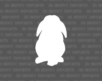 Mini lop rabbit silhouette decal, vinyl bunny sticker, glossy white