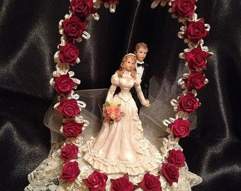ON SALE Red and Ivory wedding cake topper