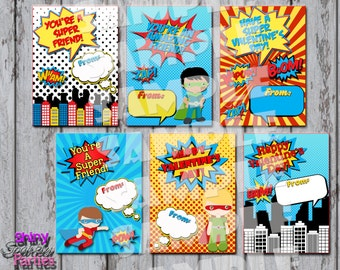 SUPERHERO VALENTINES - Superhero Valentine CARDS - Superhero Valentine's Day Cards - Boys Valentines - Super hero Valentines - Diy printable