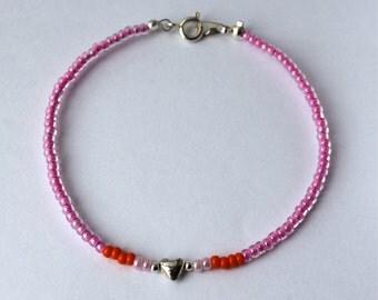 Seed Bead Bracelet-Sterling Silver Heart-Pink-Orange