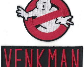 GHOSTBUSTERS Logo & VENKMAN Name Set of 2 Embroidered PATCHES