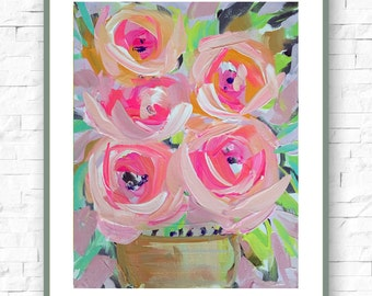 Modern Art Print , Abstract Print, Roses, pink, gray, marendevineart