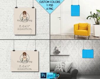 8.5x11 #WP01 Portrait & Landscape Poster Mockups on Interior Wall, Black Binder Clips, 4 Unframed Print Display Mockups PNG PSD PSE, 22x28cm