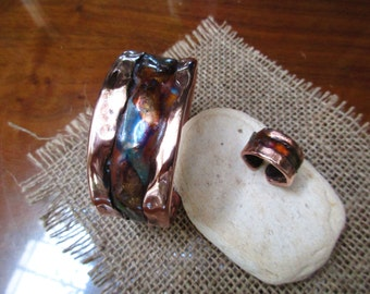 Fired Painting Copper Cuff Bracelet & Ring Set.  Hammered and Forged.