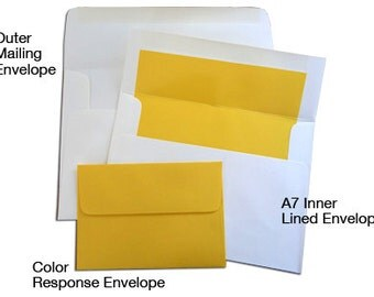 20 A7 Outer Mailing Envelopes - Make an A7 Lined Envelope a Double Wedding Envelope Set