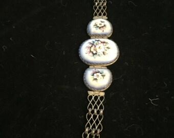 Vintage Bracelet Porcelain HandpaintedFlorals