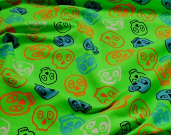 Fabric for children cotton elastane single jersey neon green skull Oeko-Tex 100