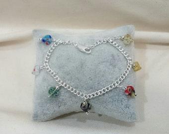Millefiori Heart Beads Bracelet