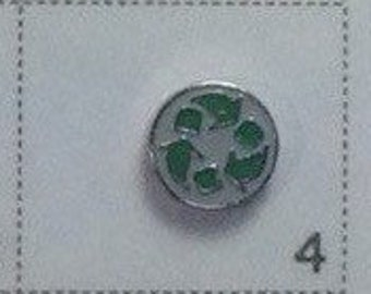 Recycle symbol floating charm