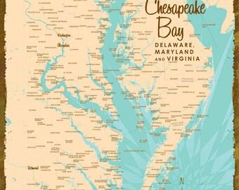 Chesapeake Bay Map - Wood or Metal Sign
