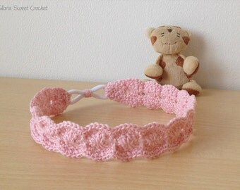 Headband for baby, made in crochet in pure cotton.