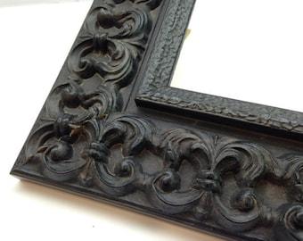 Black Ornate Picture Frame 3x5, 4x6, 5x7, 8x10, 11x14, 16x20, 18x24 + Custom Size Frames, Heavy Textured Ornate Picture Frame, Gothic Frame