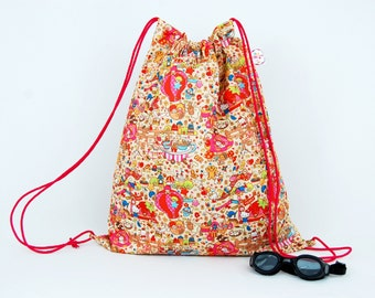 Party Town Oversized Waterproof  Drawstring bag for Adults & Children. Suitable swim, gym or PE.