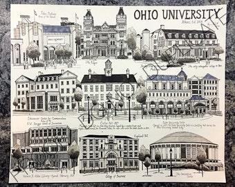 Ohio University Ink Drawing Print