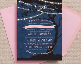 Personalised Navy Blue and Pastel Pink Fairy lights Wedding Reception Invitation with envelope