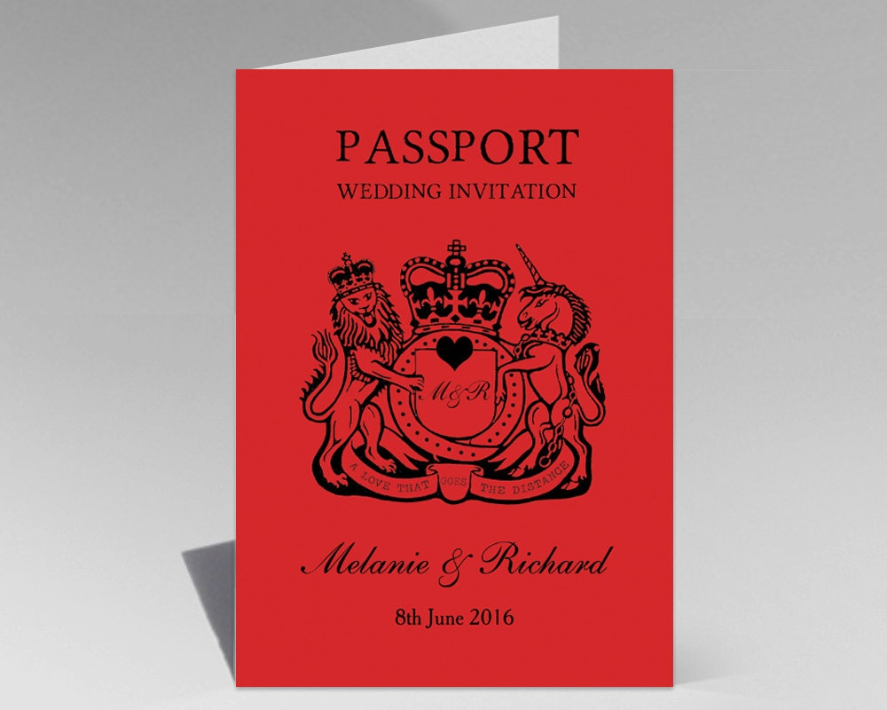 Crimson Red Passport Destination Wedding Invitation with envelopes ...