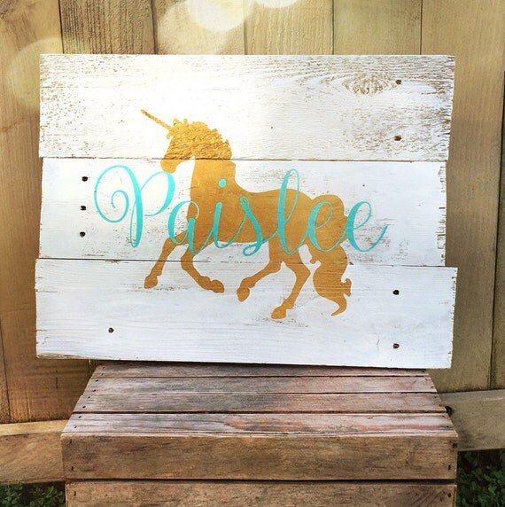 Rustic large personalized unicorn name by wehuntwooddecor for Signs for little girl rooms